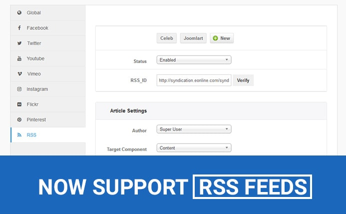 JA Social Feed Plugin - Support RSS feed and bug